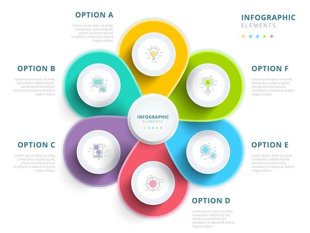Czysty, minimalistyczny biznes 5-stopniowy wykres procesu infografiki z kręgami kroków jasny korporacyjny gr
