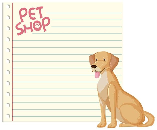 Czysty papier banery z słodkie psy na białym tle