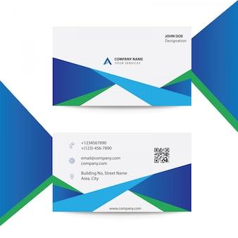 Czysty płaski nowoczesny szablon karty korporacyjnej niebieski kolor