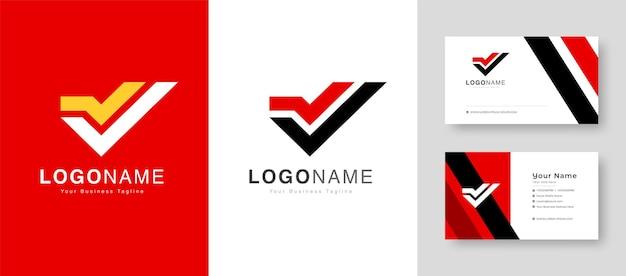 Czysty początkowy znak zwycięstwa początkowe logo v z ilustracją wektorową premium business card