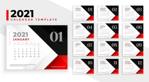 Czysty projekt kalendarza nowy rok 2021 w kolorach czerwono-czarnym