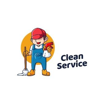 Czysty serwis logo sprzątanie ikona połysk