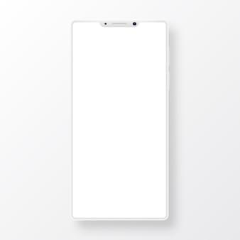 Czysty smartfon z pustym ekranem na białym tle