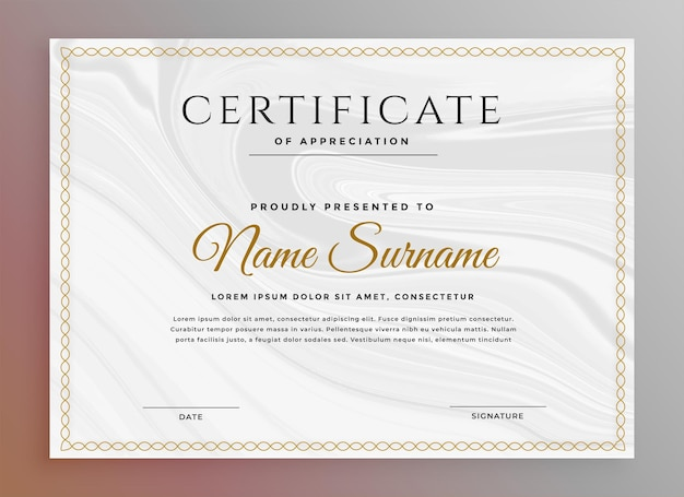 Czysty szablon certyfikatu do uniwersalnego użytku