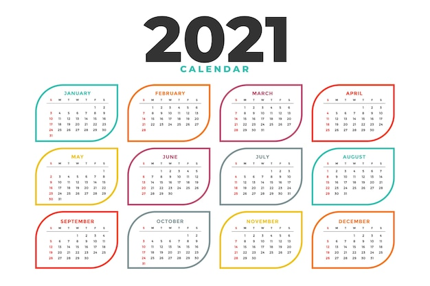 Czysty szablon kalendarza nowego roku
