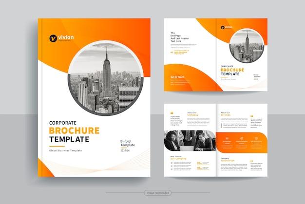 Czysty szablon projektu broszury biznesowej bi-fold z abstrakcyjnymi kształtami wektorowymi