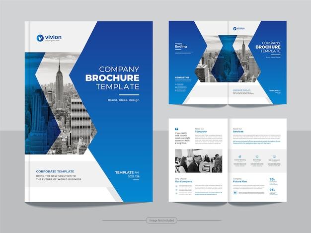 Czysty szablon projektu broszury biznesowej bifold z niebieskim kolorem gradientu