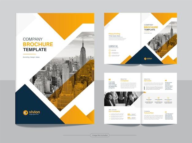Czysty szablon projektu broszury biznesowej bifold z żółtym kolorem gradientu