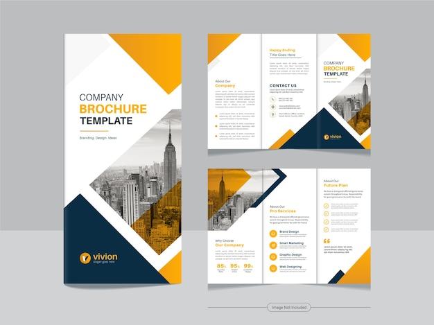 Czysty szablon projektu broszury biznesowej potrójnej firmy z żółtym kolorem gradientu