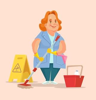 Czyszczenie charakter pracownika personelu kobieta.