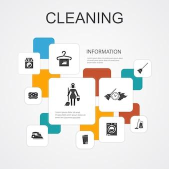 Czyszczenie infografika 10 linii szablonów ikon. miotła, kosz na śmieci, gąbka, proste ikony do czyszczenia na sucho