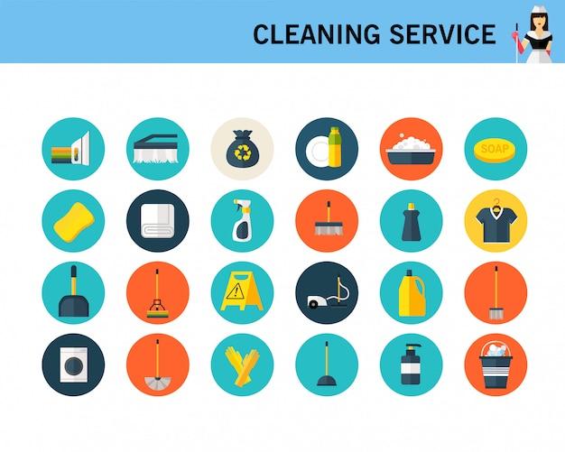 Czyszczenie koncepcji usługi płaskie ikony.