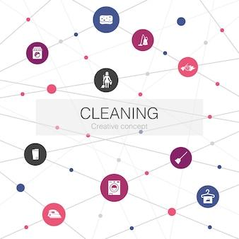 Czyszczenie modnych szablonów internetowych z prostymi ikonami. zawiera takie elementy jak miotła, kosz na śmieci, gąbka, pranie chemiczne