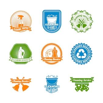 Czyszczenie odkurzacza i sanitariuszy etykiet kolorowych ilustracji wektorowych butelki do czyszczenia sprayu
