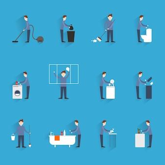 Czyszczenie płaskie ikony zestaw z postaciami osób pracujących w gospodarstwie domowym na białym tle ilustracji wektorowych