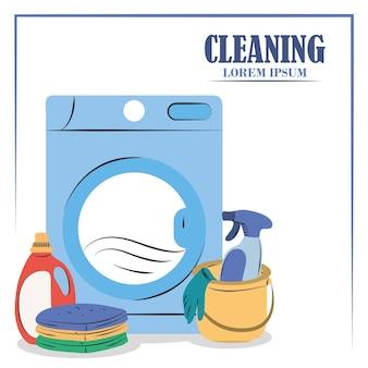 Czyszczenie pralki, pralki, wiadra z detergentem w sprayu i wyposażenia do odzieży