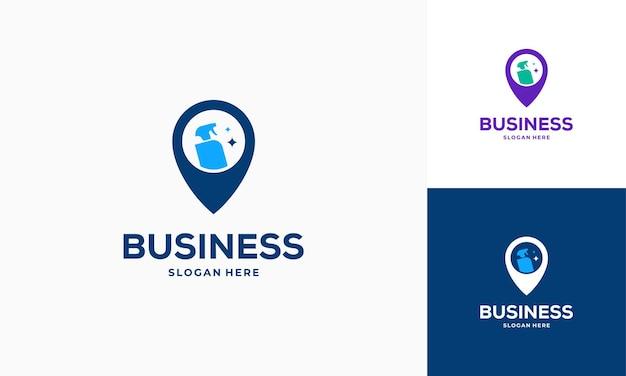 Czyszczenie service point logo projektuje wektor koncepcyjny, wskaźnik i ikona symbol logo narzędzie do czyszczenia