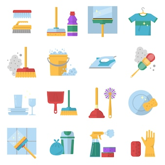Czyszczenie symboli usług. różne kolorowe narzędzia w stylu cartoon.
