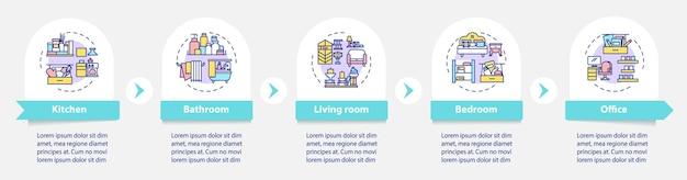 Czyszczenie w domu i biurze infographic szablon. uporządkowanie elementów projektu prezentacji. wizualizacja danych w 5 krokach. wykres osi czasu procesu. układ przepływu pracy z ikonami liniowymi
