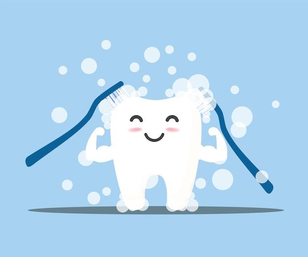 Czyszczenie zębów. szczęśliwy uśmiechający się znak zęba.