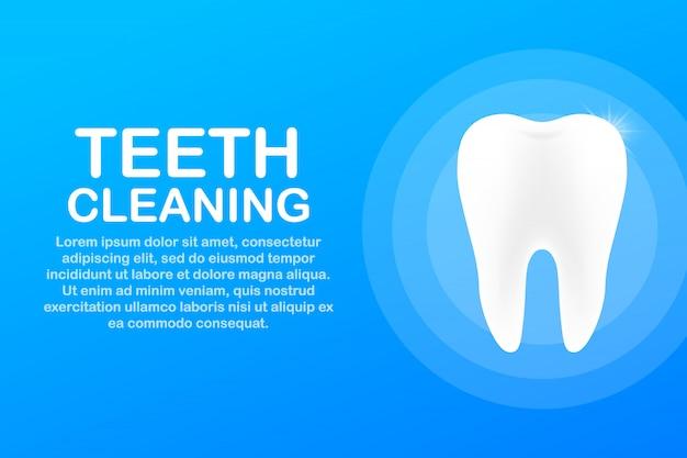 Czyszczenie zębów. zęby z ikoną tarczy. koncepcja opieki stomatologicznej. zdrowe zęby. ludzkie zęby