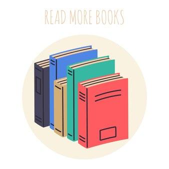 Czytaj więcej książek książki stos biblioteka podręczników do czytania i edukacji na białym tle ilustracji wektorowych