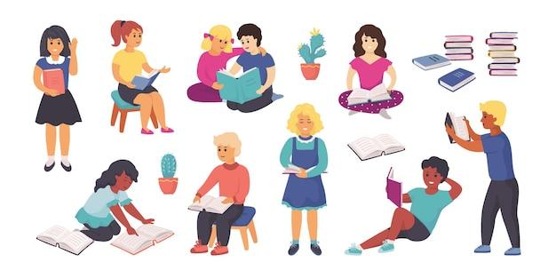 Czytanie dzieci. szczęśliwe dzieci kreskówki czytające książki i studiujące, zabawne postacie chłopców i dziewcząt, trzymające książki i uczące się. wektor ilustracja na białym tle zestaw zadań domowych dla dzieci