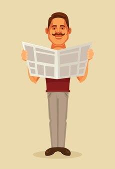 Czytanie gazety postaci człowieka. ilustracja kreskówka płaska