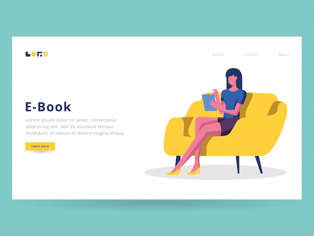 Czytanie ilustracji ebooka dla strony docelowej