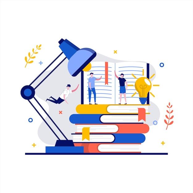 Czytanie książek koncepcja z charakterem. osoby uczące się w bibliotece.