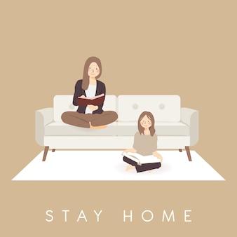 Czytanie książki ćwiczenie zostań w domu, wygodnie leniuchując w domu, aby spędzić czas podczas wybuchu pandemicznego wirusa koronawirusa covid-19, aby zapobiec rozprzestrzenianiu się infekcji