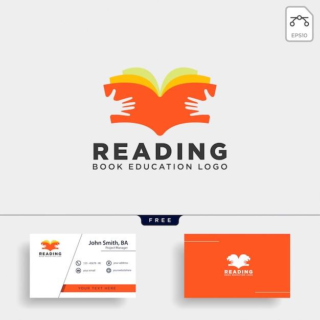 Czytanie książki czasopismo edukacja prosty szablon logo