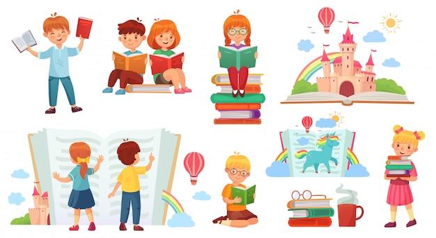 Czytanie książki dla dzieci. kreskówki dziecka biblioteka, szczęśliwy dzieciak czyta książki i książkowej sterty odosobniona ilustracja
