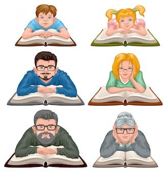 Czytanie książki dla rodzin. ustaw ludzi czytających książkę