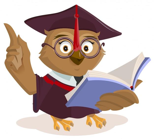 Czytanie książki nauczyciela sowy