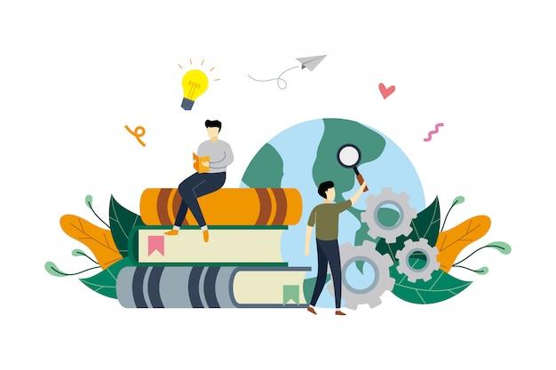 Czytanie książki, nauka, pomysły, edukacja z małymi ludźmi