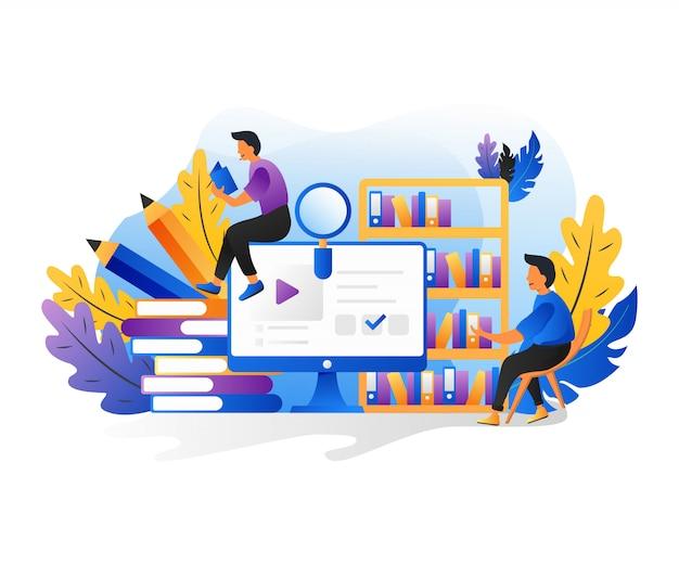 Czytanie ludzi. postacie z koncepcją książek, czytaniem e-booków i studiowaniem online.