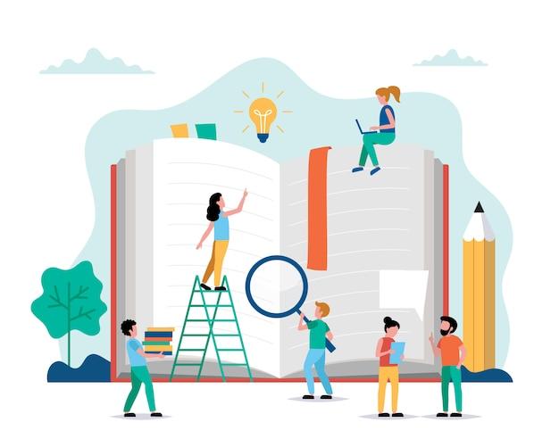 Czytanie, małe postacie ludzi wykonujących różne zadania wokół wielkiej książki.