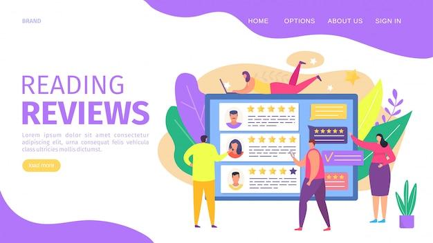 Czytanie recenzji, ilustracja strony internetowej. wyświetlane na ekranie opinie o liczbie gwiazdek usług i klientów, lądowaniu