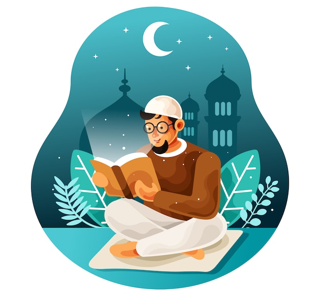 Czytanie w nocy świętej księgi koranu