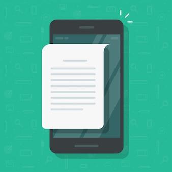 Czytanie wiadomości tekstowych lub plików na telefon komórkowy lub telefon komórkowy ilustracja kreskówka