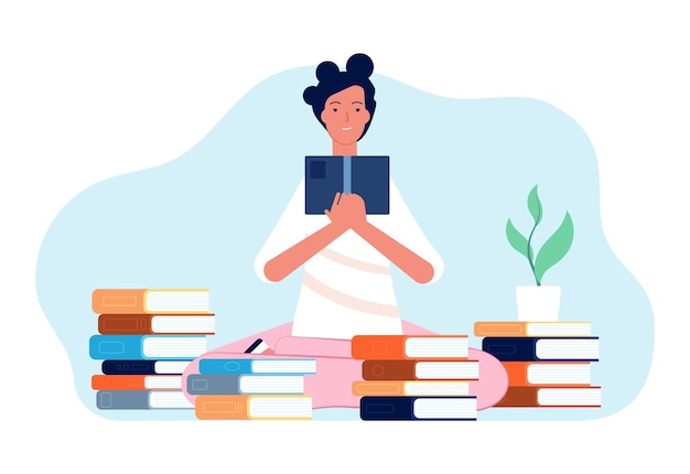 Czytelnicza dziewczyna. student z książką, szczęśliwą kobietą i stosami książek. samokształcenie, nauka lub przygotowanie do egzaminu, ilustracja wektorowa czasu izolacji siebie. edukacja i nauka, student z książką
