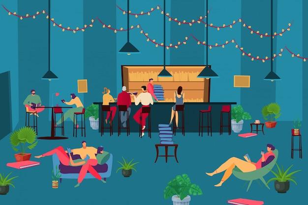 Czytelnicza książkowa kawiarnia, ilustracja. ludzie kobieta mężczyzna postać z kreskówki zrelaksować się, siedząc w wygodnym fotelu i stole