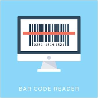 Czytnik kodów kreskowych płaski wektor ikona