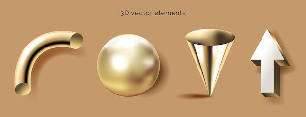 D geometryczne kształty zestaw brązowe tło dekoracyjne figury matematyczne baner złoty stożek kula tu ...