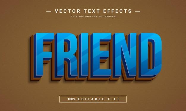 D przyjaciel edytowalny efekt tekstowy
