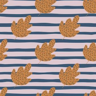 Dąb graficzny wzór na tle pasek. tło liści w stylu skandynawskim.