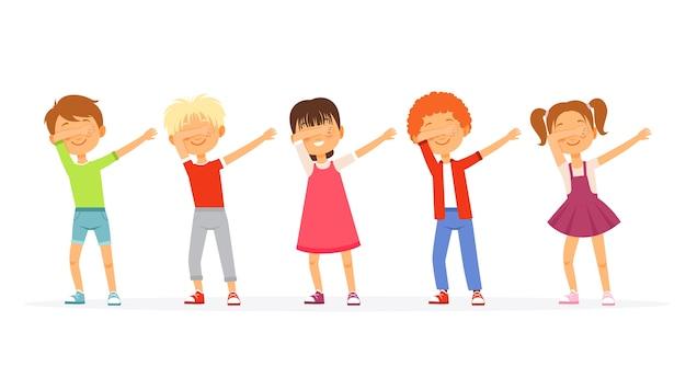 Dabbing. dzieci tańczą i pozują szkolne grupy nastolatków młodych amerykanów poruszających się wektorowymi postaciami dabbingowymi. ilustracja tancerz postaci dab, taniec dabbing wykonywania