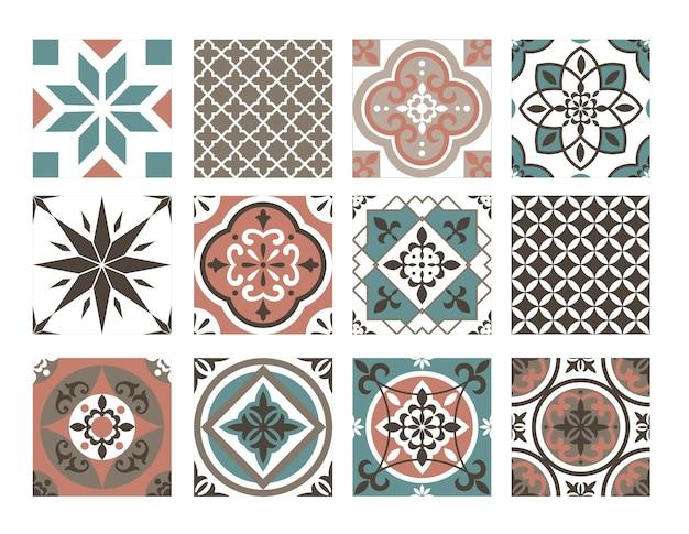 Dachówka kolorowy wzór zestaw. kolekcja abstrakcyjnych orientalnych niebiesko-brązowych geometrycznych ornamentów dekoracyjnych, ceramiczne typowe ozdobne dekoracje retro