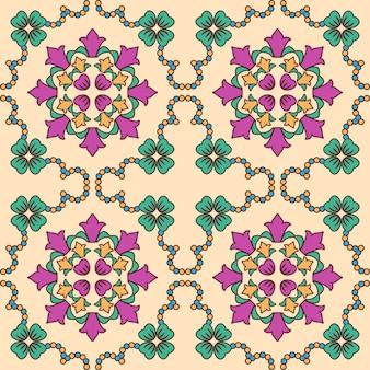 Dachówka wzór. z kolorowymi motywami w tle.